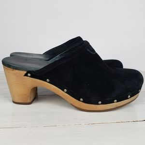 Ugg ABBIE studded suede clogs wooden heel mules